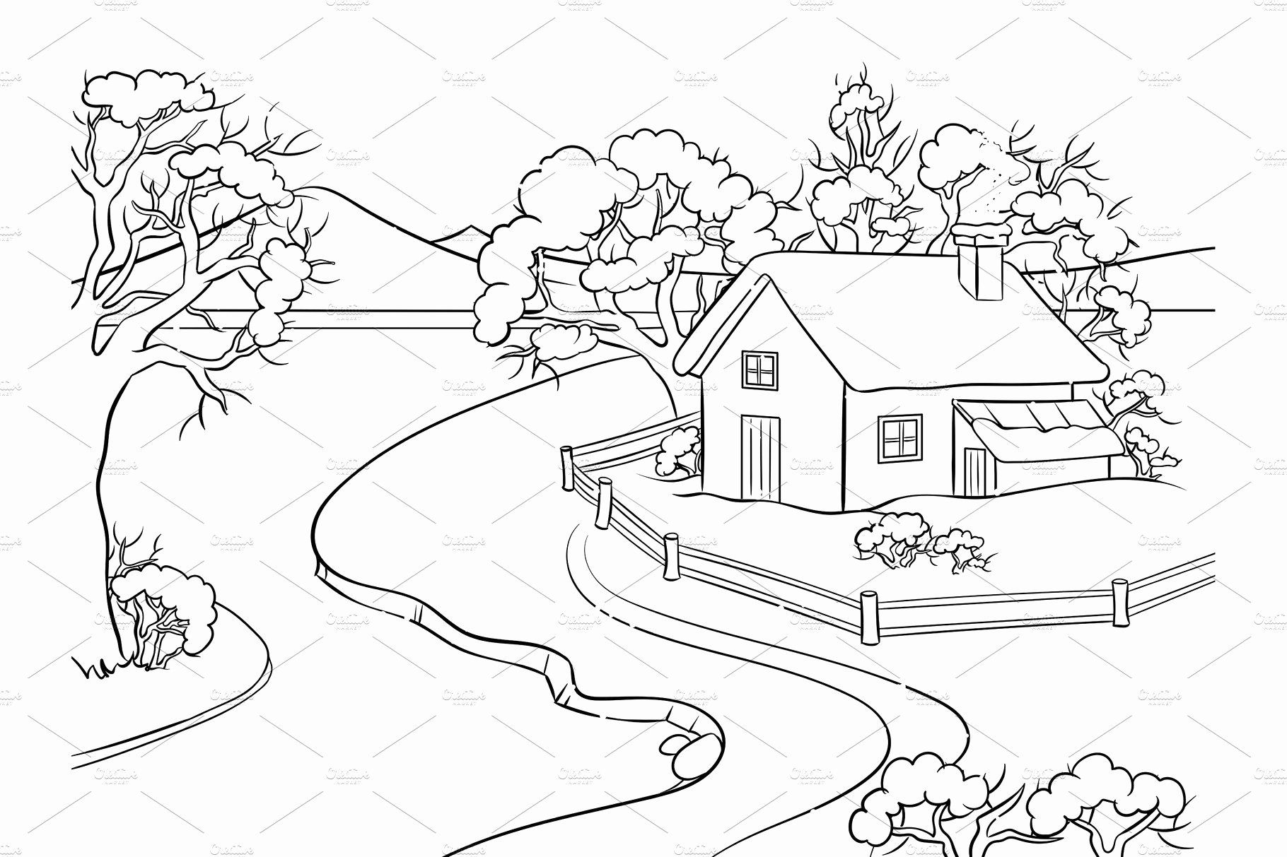 Winter Landscape Coloring Pages Awesome Winter Landscape