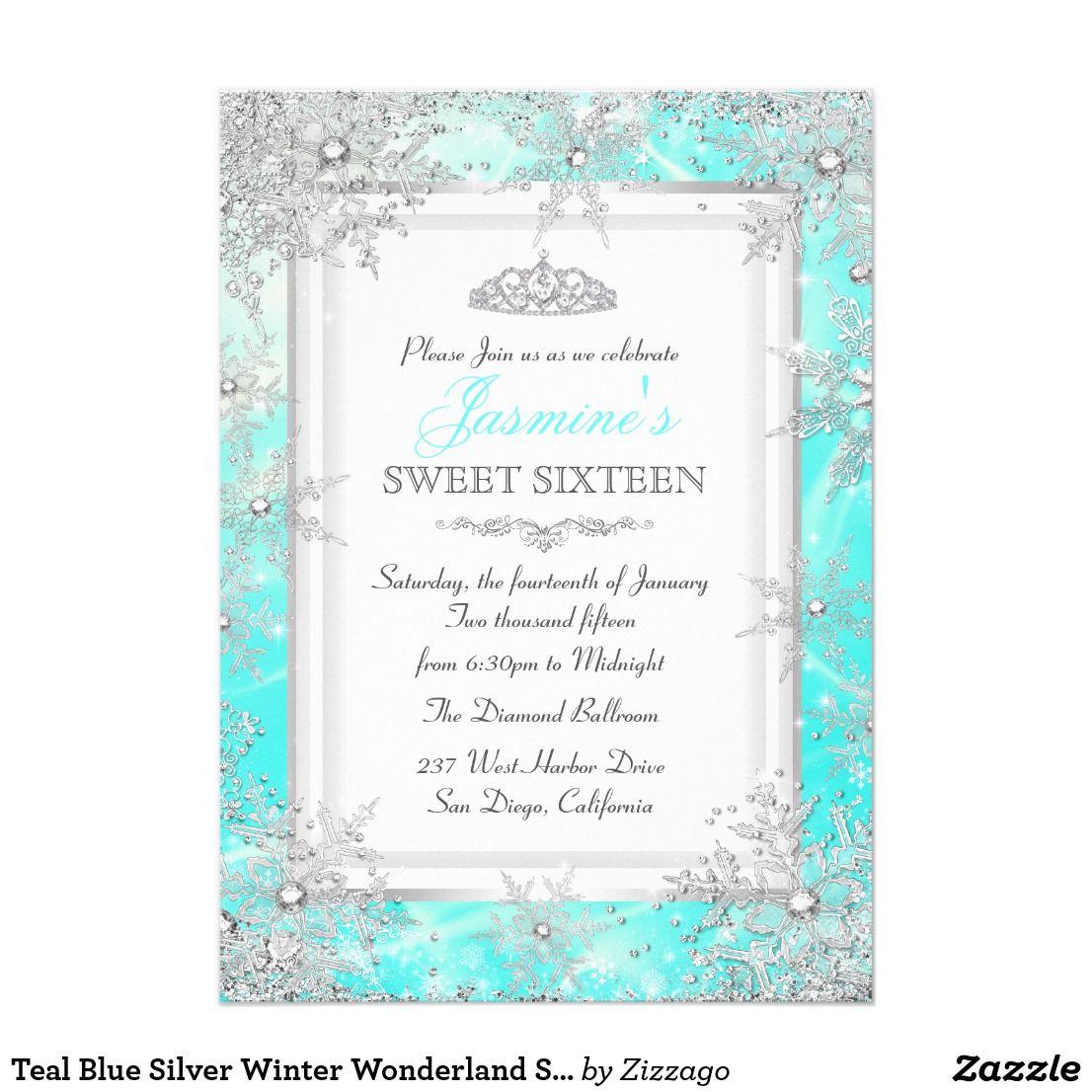Teal Blue Silver Winter Wonderland Sweet 16 Party Card   Sweet 16 ...