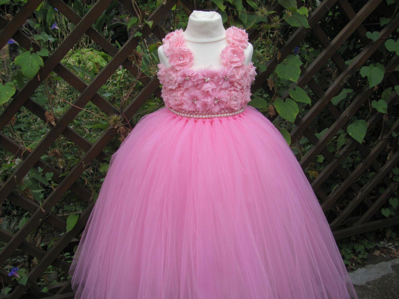 Light Pink Flower Dress Birthday Dress Tulle Dress Wedding Dress ...