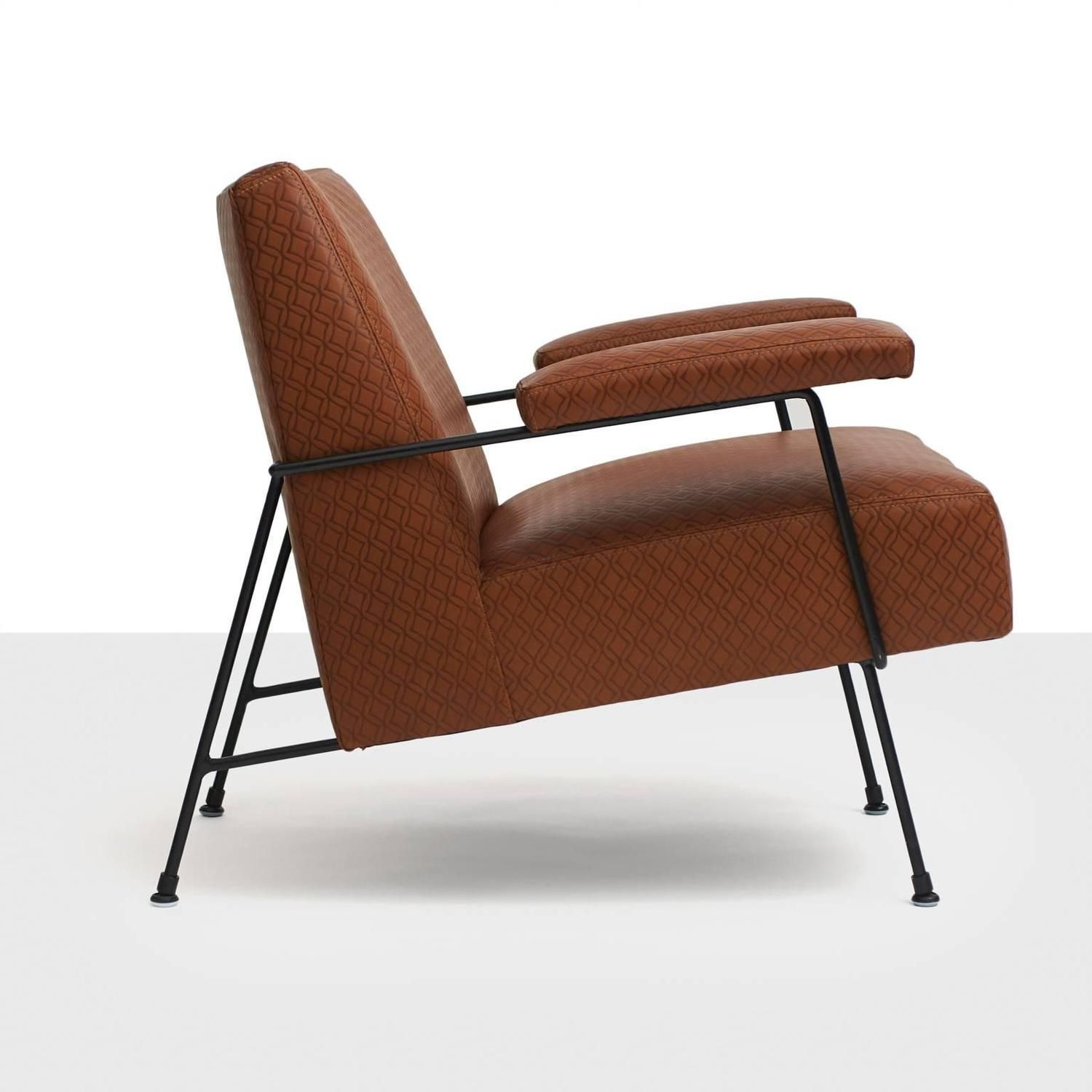 Milo Baughman Iron Framed Lounge Chair for Pacific Iron Works