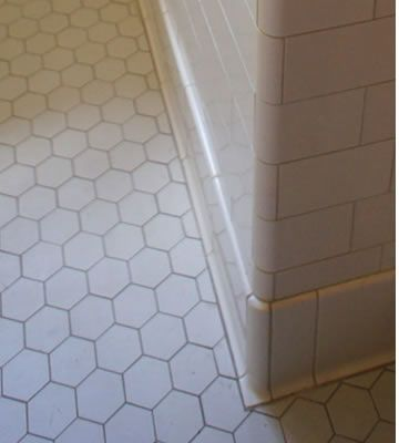 Image result for subway tile floor trim options | Hall bath remodel ...