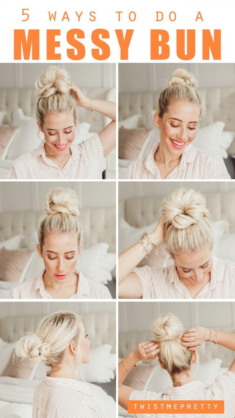 5 Ways To Do A Messy Bun Twist Me Pretty Thick Hair Styles Messy Bun Hairstyles Long Hair Styles