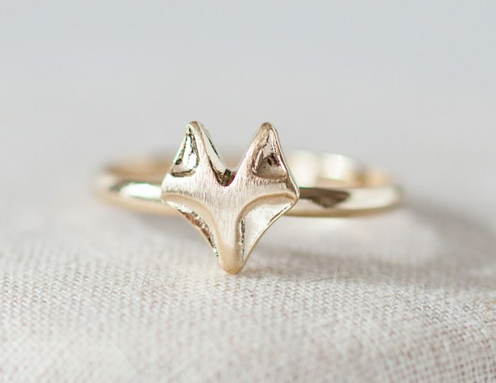 Cute fox adjustable ring in gold