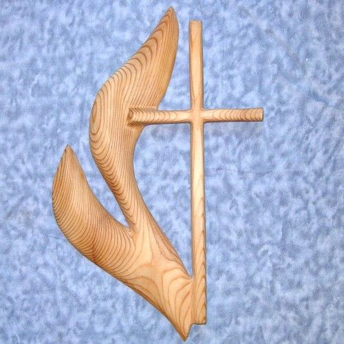 Cross Of United Methodist Church Wood Carved Umc Cross And Flame