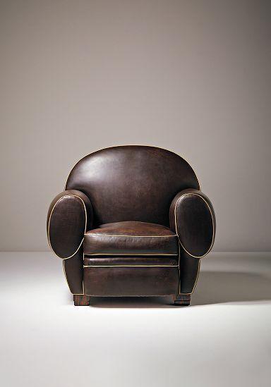 Art Deco Elephant armchair - c. 1926 - Design by Émile-Jacques Ruhlmann - Leather, macassar ebony-veneered wood, wood - H: 90.2 cm. - Phillips - Art Deco Furniture