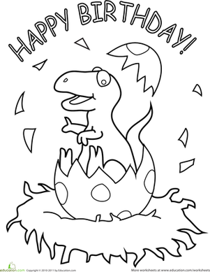 Happy Birthday Dinosaur Worksheet Education Com Happy Birthday Coloring Pages Dinosaur Coloring Pages Birthday Coloring Pages