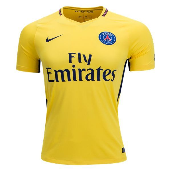 """Paris Saint-Germain Away Soccer Jersey 17/18 This is the Paris Saint-Germain Away Football Shirt for the 17/18 season. A vibrant, exciting yellow away jersey pays tribute to the history of Brazilian players at PSG. Features a sewn on team badge and embroidered swoosh. """"Ici C'est Paris"""" is printed inside the collar, with """"Paris"""" on the […]"""