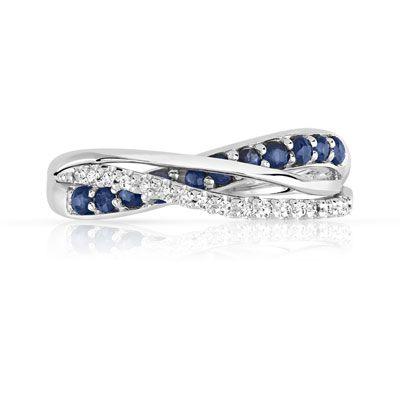 Art Lady Design Unique Femme Blanc Saphir 1 en 2-Engagement Band Ring Set