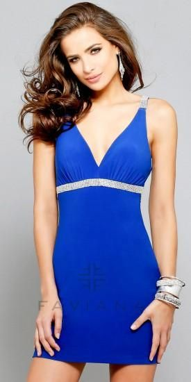 Low Back With Beaded Strap Detail Homecoming Dresses By Faviana
