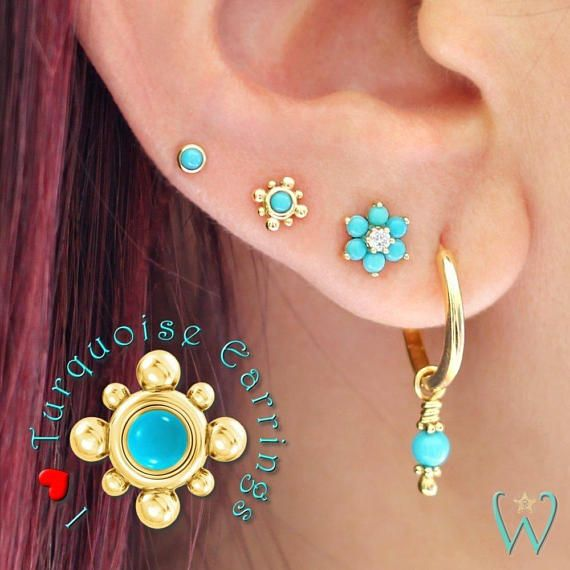 09a95d6b5 This Tiny Turquoise Beaded Stud Earring, Flat Back Earring, Cartilage  Earring is made out