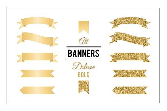 Banners Deluxe - Gold by Maishop on @creativemarket