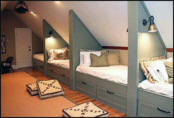 Under the eaves in the loft but full or queen beds with lights & open under bead storage.