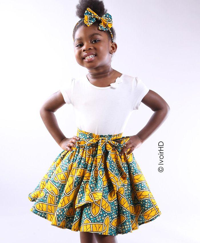 Jupe et serre-tête en wax.   Robe africaine fillette, Vêtements filles, Petite robe en pagne