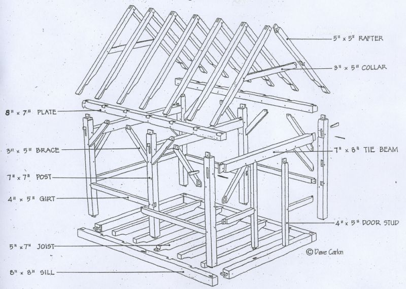 detailed timber frame plans - Google Search | Post and beam drawings ...