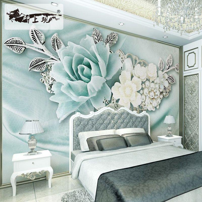 Best 3D Flowers Embossed Mural Sitting Room Bedroom Tv 640 x 480