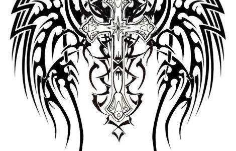 d50321222 Tribal Cross With Wings Tattoos | Projects to Try | Tribal tattoos ...