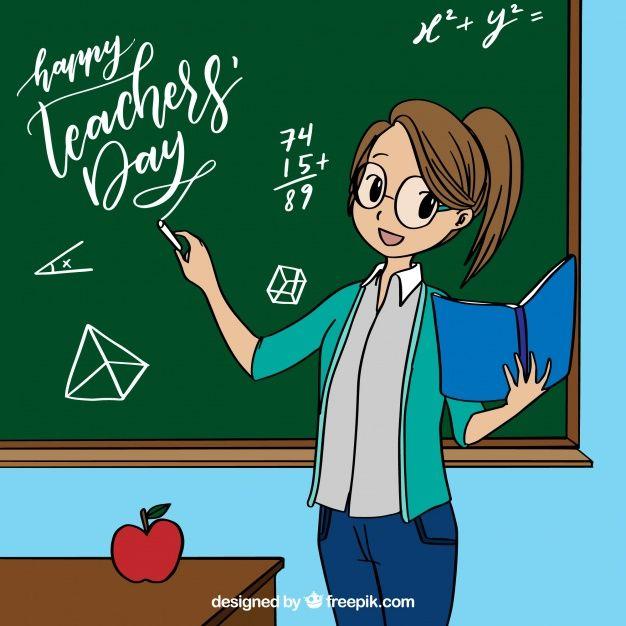 Telechargez Professeur Par Le Tableau En Style Anime Gratuitement Teacher Picture Animation Schools Teachers Day Card Design