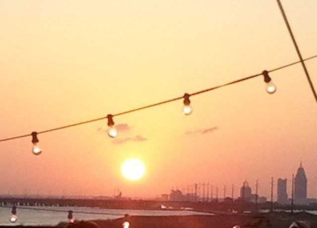 Lovely sunset on the dining pier in Mobile, Alabama