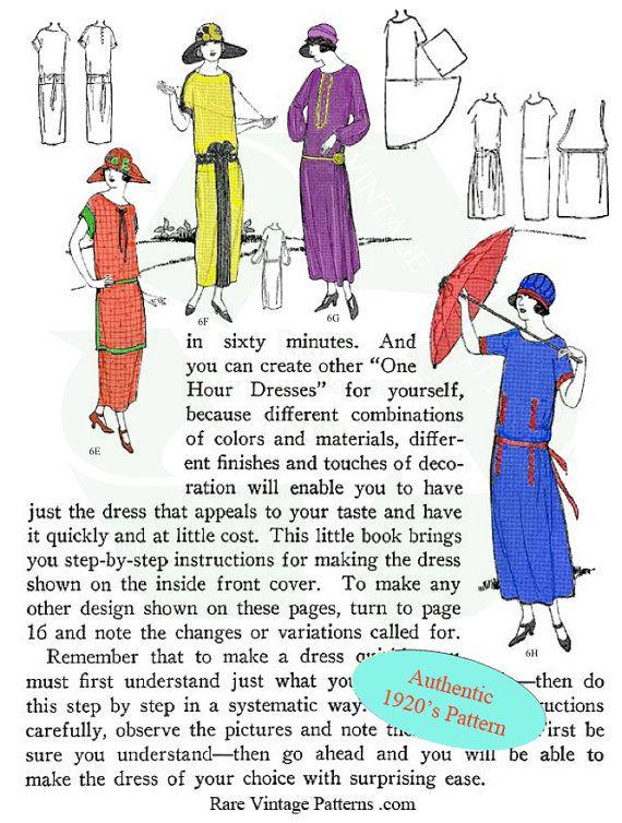 Art Deco Vintage Downton Abbey Style 1920s Easy Dress Pattern Etsy Simple Dress Pattern Art Deco Dress Downton Abbey Fashion