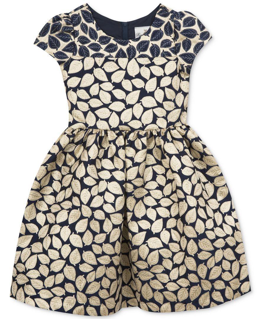 Rare editions brocade leaf dress toddler u little girls tx