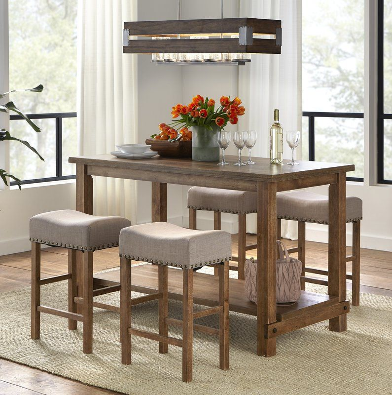 Hendina 5 Piece Solid Wood Table Set | Counter height ...