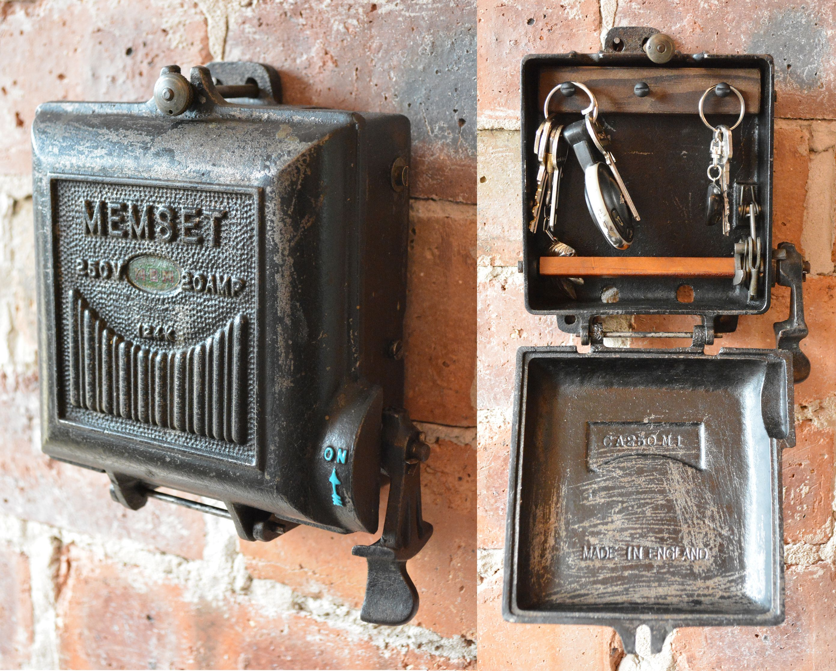 small resolution of cast iron key storage converted from an antique 1940 s memset fuse box vintage industrial functional storage sold