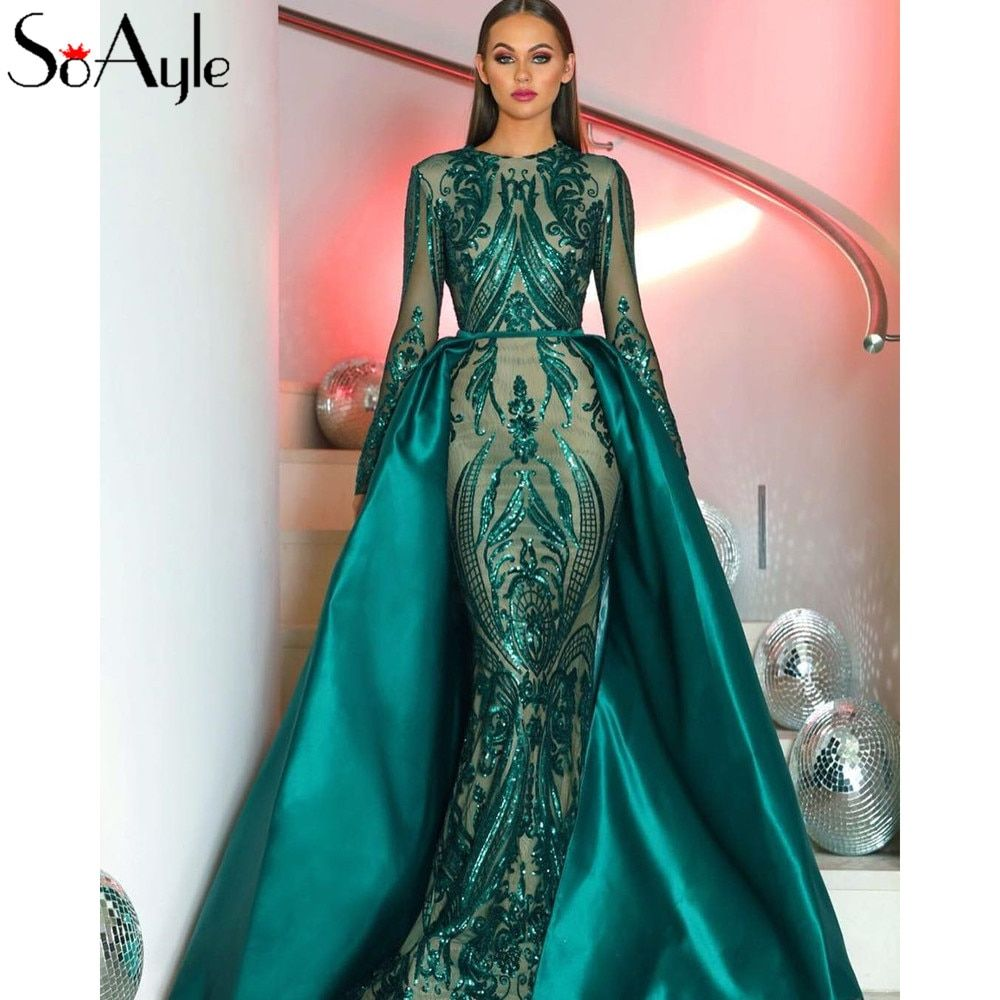 Soayle prom dresses luxury sequin embroidery gold evening