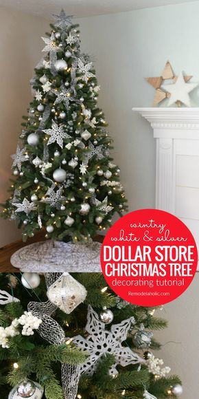 Decorate A Budget Friendly White And Silver Christmas Tree With Ornaments  All From The Dollar Store! Learn How To Use Inexpensive Ornaments To Decou2026
