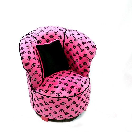 Magical Harmony Kids Tulip Chair - Minky Hot Pink Skull - Harmony Kids - $198.99