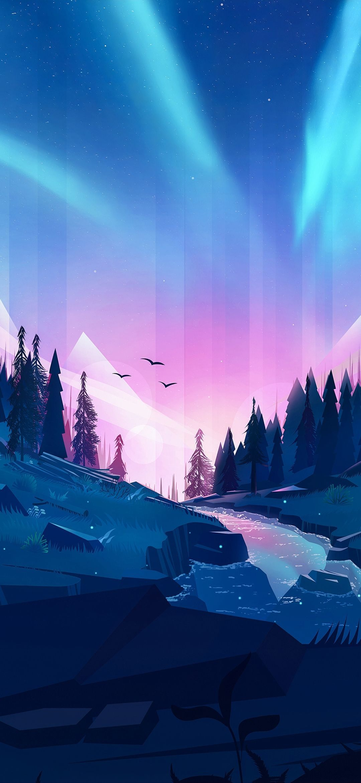 Gradient Mountain Desktop Wallpaper Art Artistic Wallpaper Anime Scenery Wallpaper