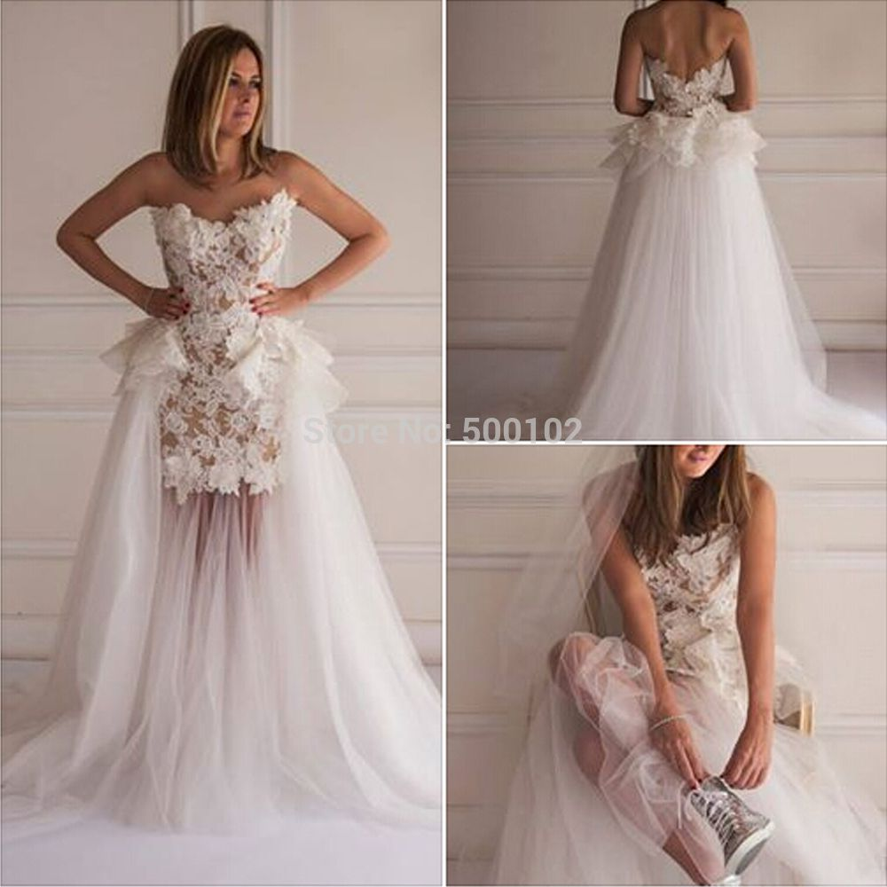 Long wedding dress  Click to Buy ucuc Fitted Bridal Gown ALine Sweetheart Lace Applique