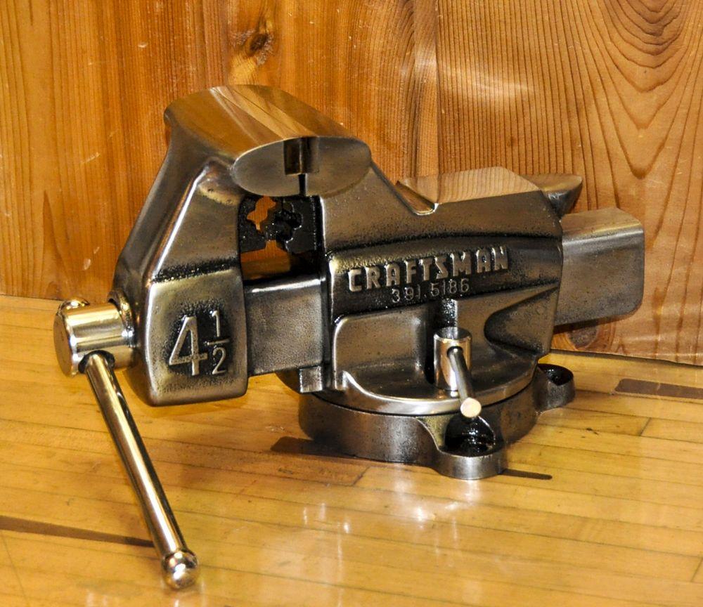 Vintage Big Craftsman Bench Vise Vice Machinist Tool Pipe Jaw