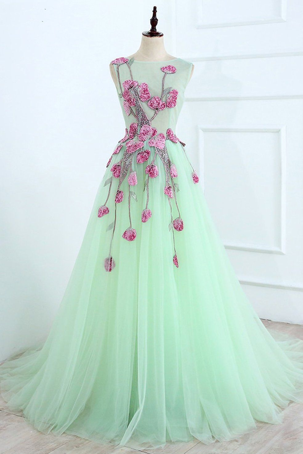 A Line Mint Green Sleeveless Tulle Formal Dress With Appliques Long Tulle Prom Dress N1465 In 2021 Floral Dress Formal Green Prom Dress Prom Dresses Long [ 1475 x 984 Pixel ]