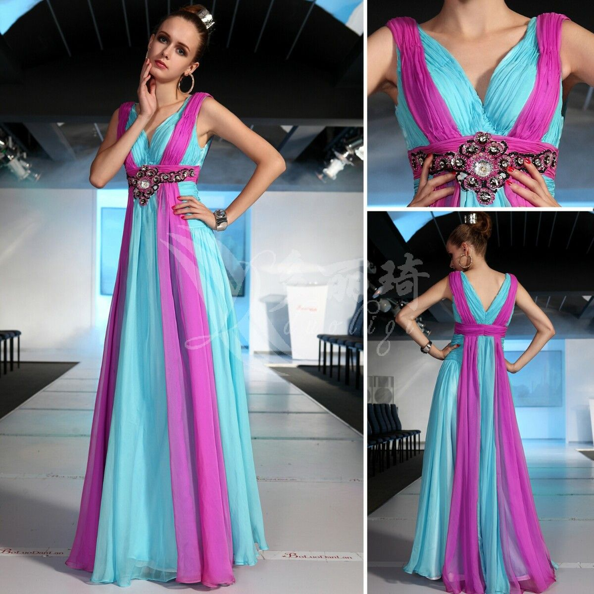 free sipping 2016 blue and purple Banquet bridesmaid bride long ...