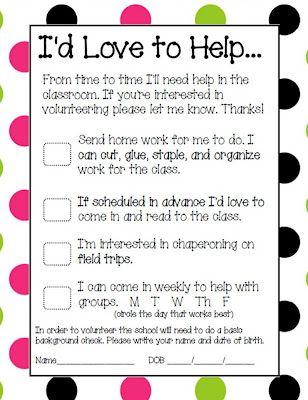 Parent Volunteer Form Classroom Freebies! Pinterest Parent - school volunteer form template