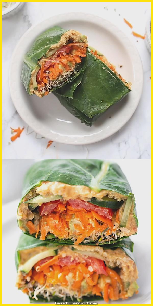 Die Besten Mit Quinoa Und Grünzeug Collard Wraps These healthy Quinoa und Grünzeug Collar...