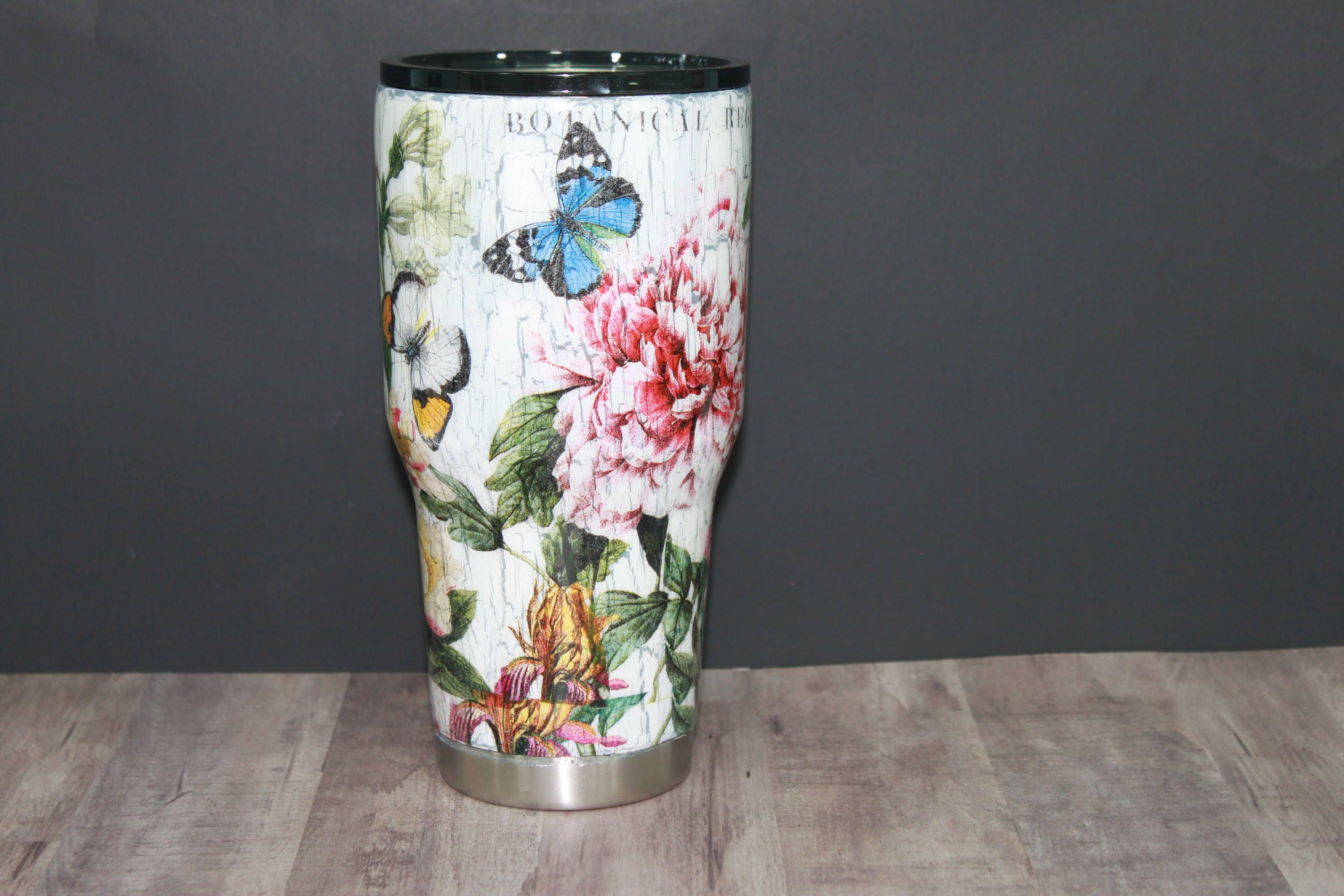 Decoupage Crackel Paint Tumbler / Stainless steel tumbler