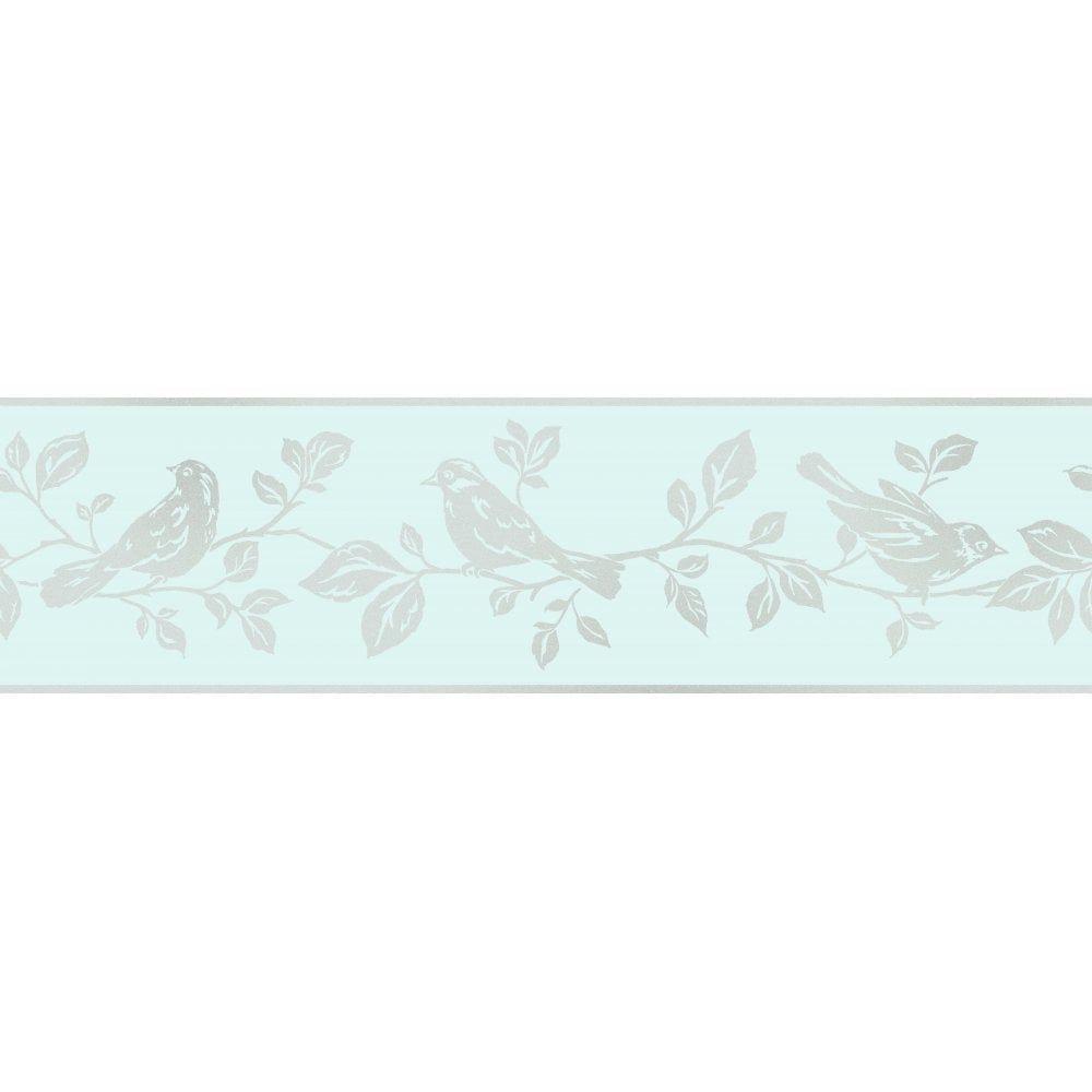 FINE DECOR Glitz Leaf & Bird Glitter Wallpaper Border Teal