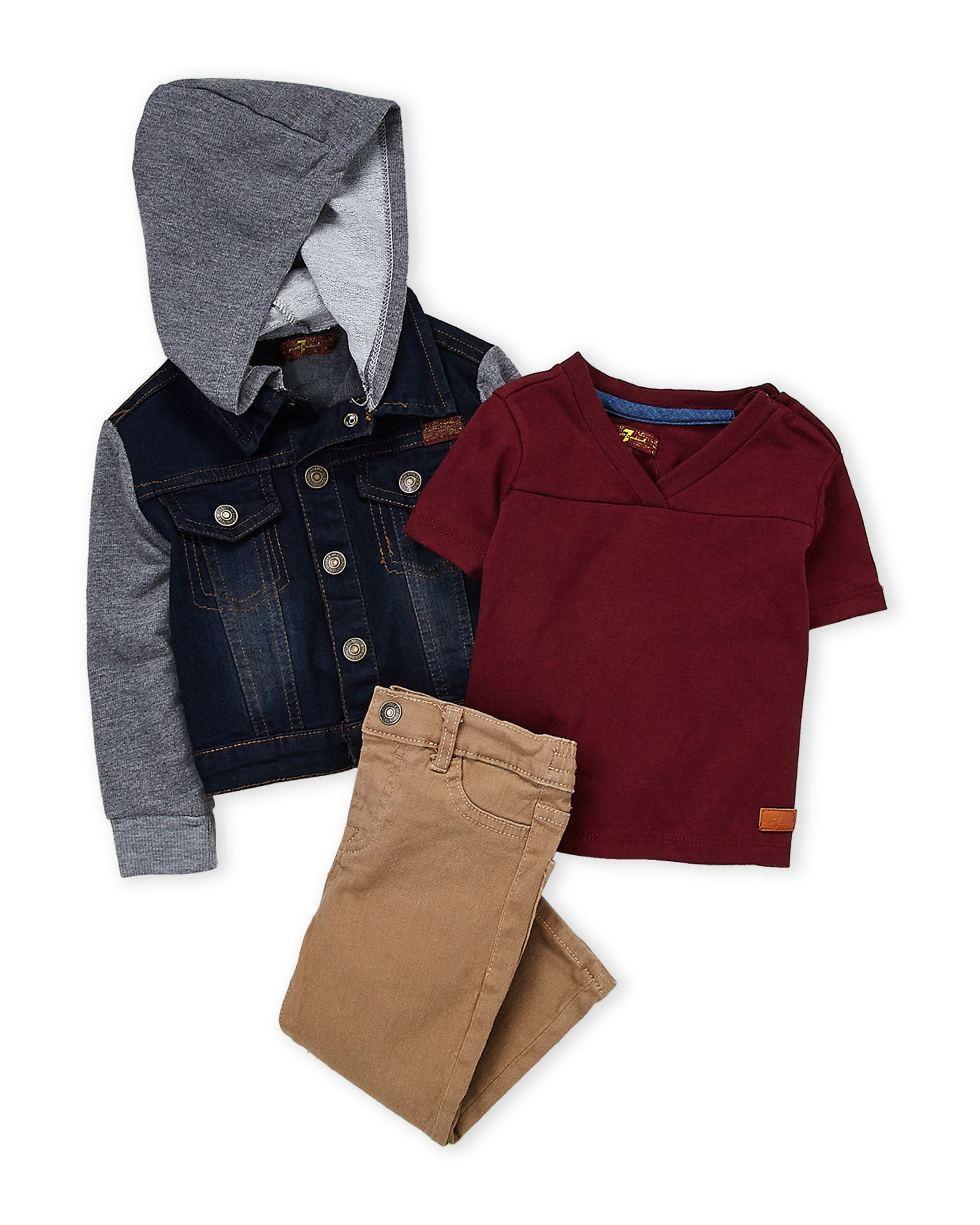 1fafad813ac5 7 For All Mankind (Infant Boys) 3-Piece Denim Jacket   Khaki Slim ...
