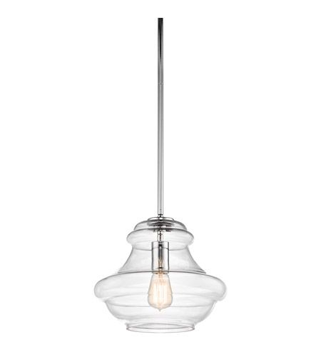 Kichler 42044CH Everly 1 Light 12 inch Chrome Pendant Ceiling Light in Clear Glass photo