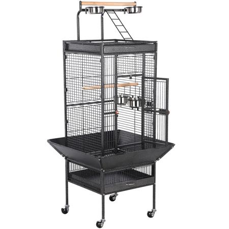 61 Parrot Cage Rolling Metal Bird Cage Cockatiel Lovebird W Play Top Black Large Parrot Cage Parrot Cage Cockatiel