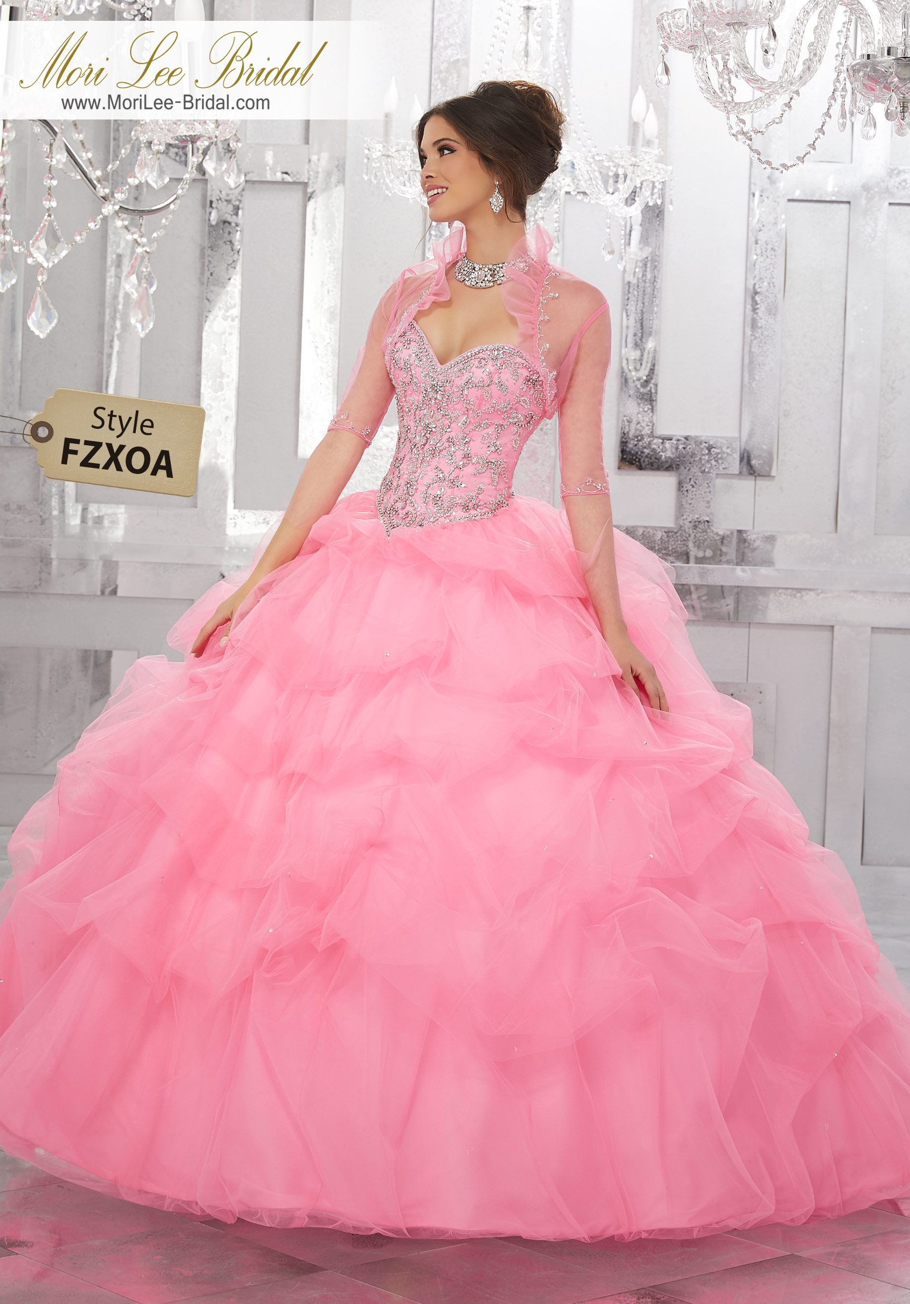 Style FZXOA Rhinestone and Crystal Beading on a Ruched Tulle Ball ...