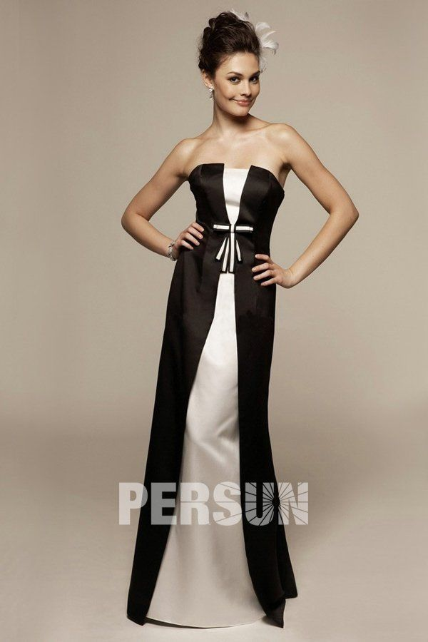 robe longue blanche bustier noir