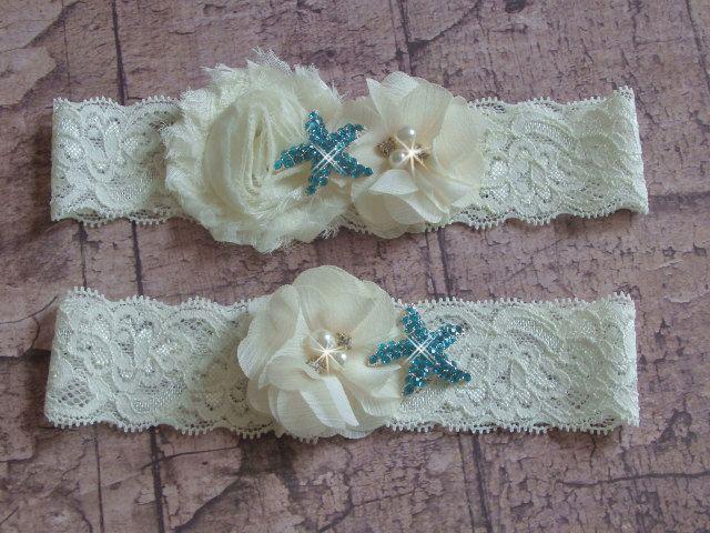 Something Blue Beach Wedding Garter With Aqua Starfish Ivory Or White Lace Bridal