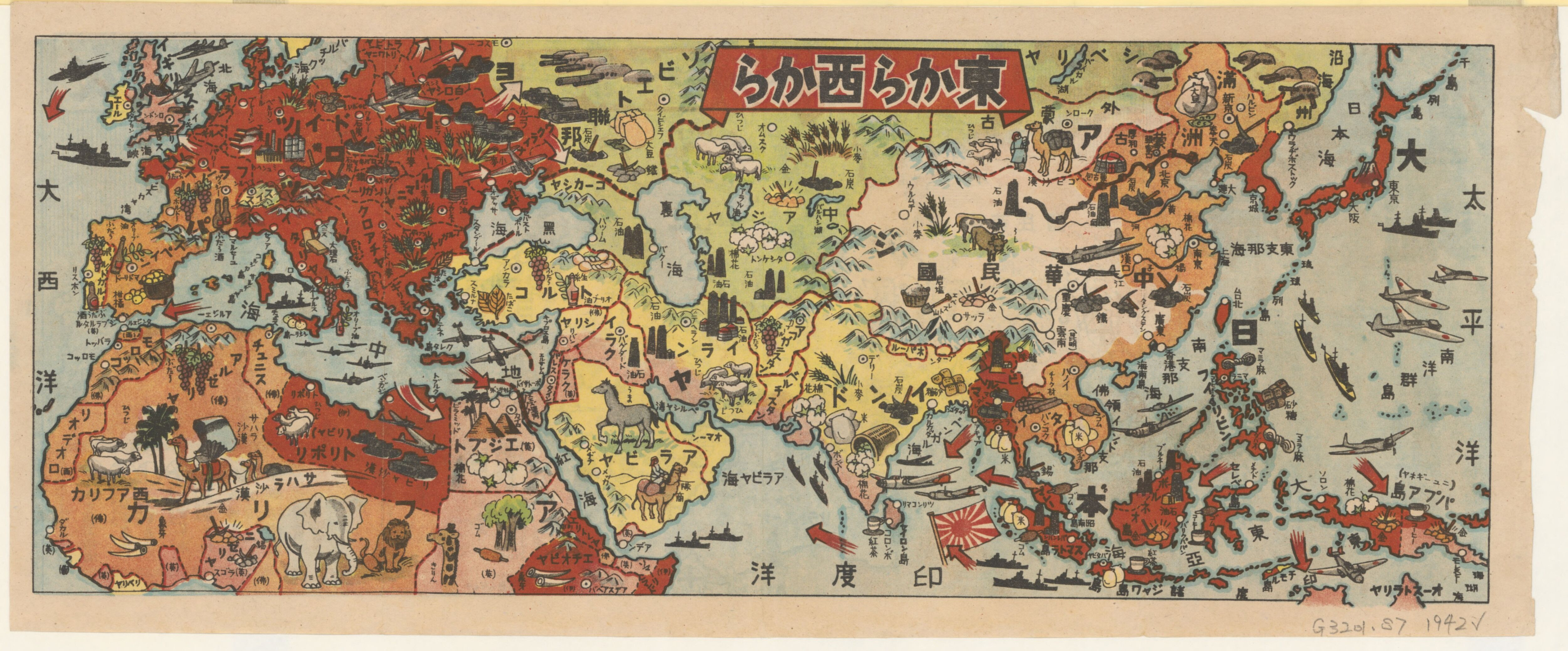 Japanese world war ii pictorial map of europe asia and northern japanese world war ii pictorial map of europe asia and northern africa 1942 gumiabroncs Image collections