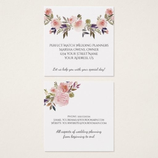 Pink Peonies Purple Green Leaves Business Cards