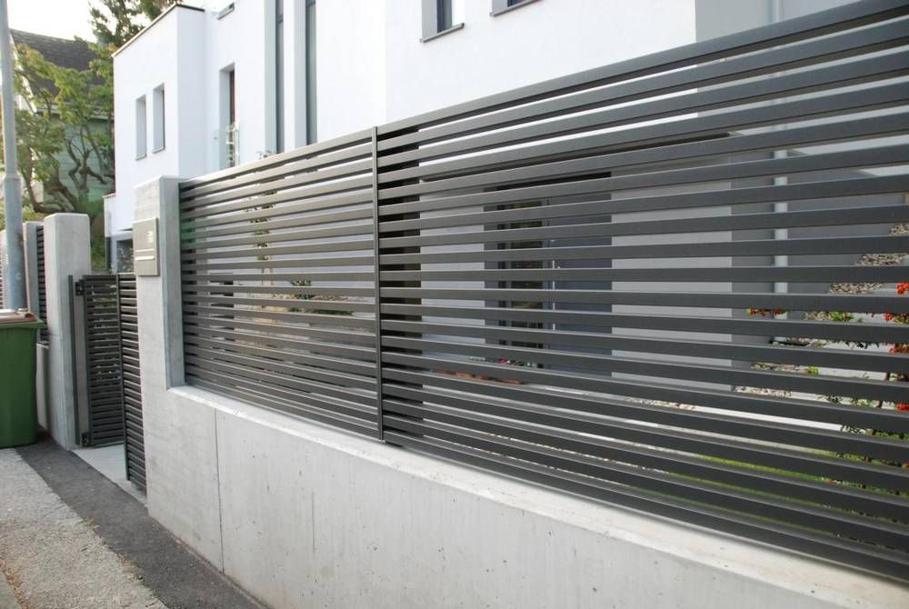 One of our last projects Modern horizontal aluminium fence Linea We produce the whole system including swing gates doors balustrades and other constructions Design ideas...