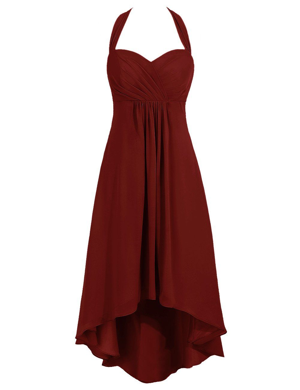 Tidetell chiffon halter party prom dress high low bridesmaid dress tidetell chiffon halter party prom dress high low bridesmaid dress burgundy size 18w ombrellifo Gallery
