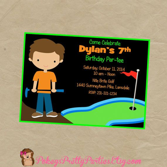 GLOW in the DARK Golf Putt Putt Birthday Party Invitation