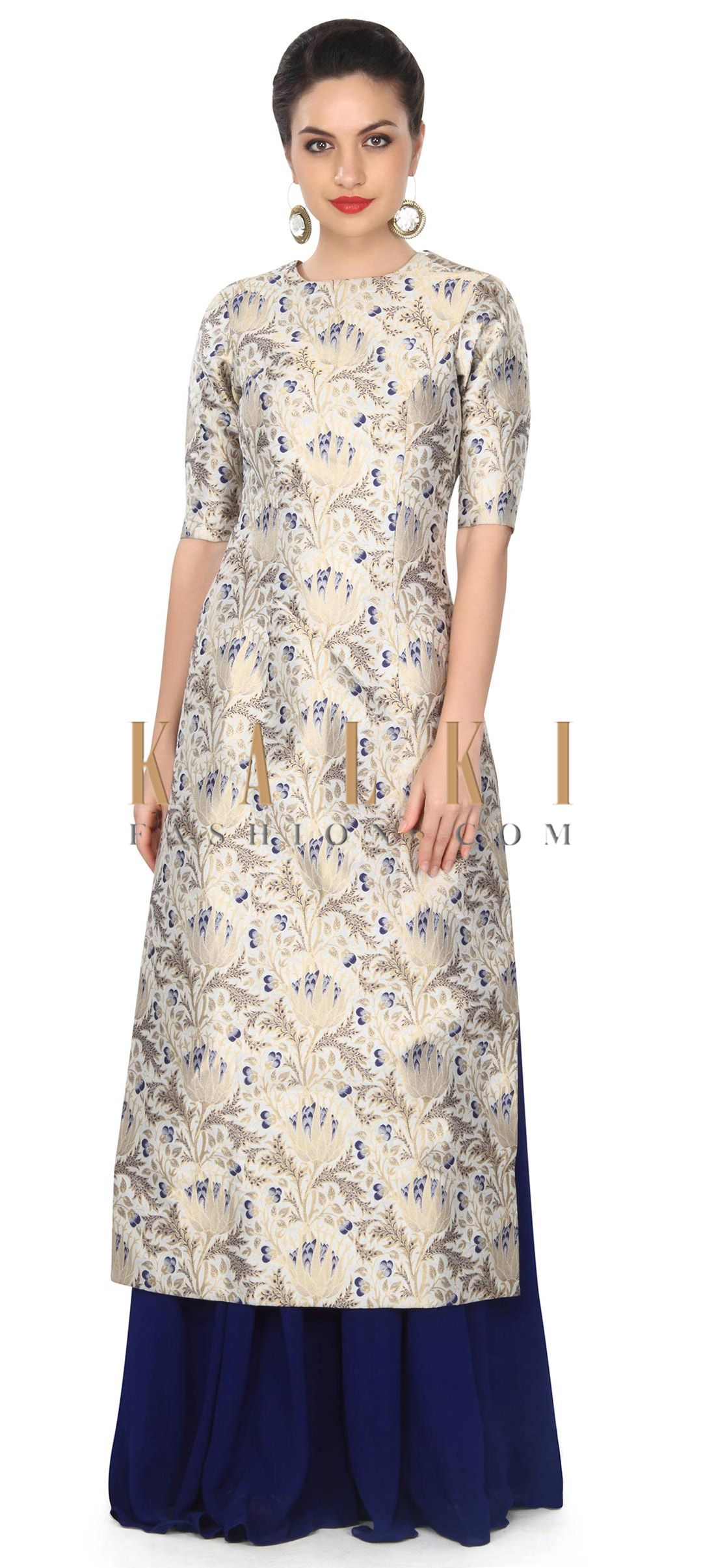 Buy This Cream And Blue Straight Suit In Brocade With Palazzo Pant